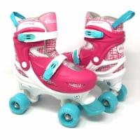Chicago Skates CRS138G-M Pink & White Medium Girls Quad Roller Skates Combo with Protective G