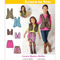 Simplicity Patterns US1786HH Learn To Sew Girls Vests & Skirt - Size 3-4-5-6 - 1