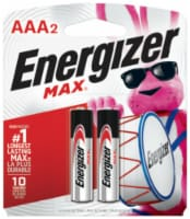 Energizer MAX AAA Alkaline Batteries 2 pk Carded - Case Of: 12; Each Pack Qty: 2; Total Items - Case of: 12