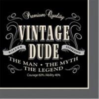 Creative Converting 655567 Vintage Dude - Beverage Napkins - Case of 192