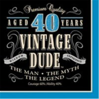 Creative Converting 664067 Vintage Dude - Lunch Napkins, 40th - Case of 192