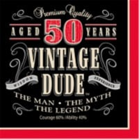 Creative Converting 661567 Vintage Dude - Lunch Napkins, 50th - Case of 192