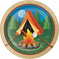 Creative Converting 329318 8.75 x 8.75 in. Camp Out Paper Round Dinner Plate, 8 Count
