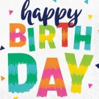Creative Converting 339786 Fiesta Fun Happy Birthday Napkins, 16 Count