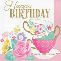 Creative Converting 339799 Floral Tea Party Happy Birthday Napkins, 16 Count