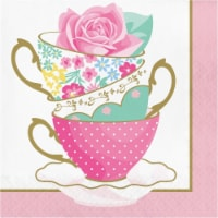Creative Converting 339800 Floral Tea Party Teacup Napkins, 16 Count