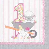 Creative Converting 339865 Farmhouse 1st Birthday Happy Birthday Girl Napkins, 16 Count