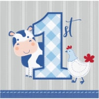 Creative Converting 339871 Farmhouse 1st Birthday Boy Beverage Napkins, 16 Count