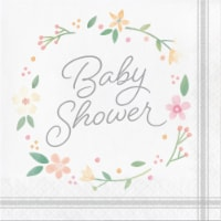 Creative Converting 339876 Country Floral Baby Shower Bottle Napkins, 16 Count - 16