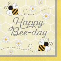 Creative Converting 339890 Bumblebee Baby Happy Birthday Napkins, 16 Count