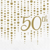 Creative Converting 339901 Gold 50th Anniversary Napkins, 16 Count