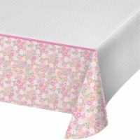 Creative Converting 340219 Farmhouse 1st Birthday Girl Plastic Tablecloth