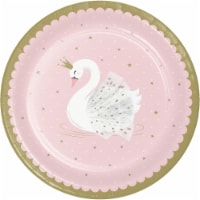 Creative Converting 343834 9 in. Swan Paper Disposable Dinner Plate, Pink - 8 Count - Case of - 1