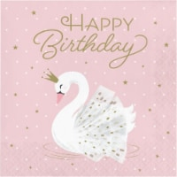 Creative Converting 343837 6.5 in. Swan Happy Birthday Napkins, Pink - Case of 12 - 16 Count