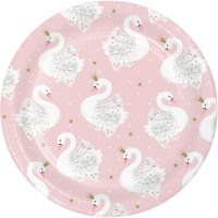 Creative Converting 343838 7 in. Swan Paper Disposable Dessert Plate, Pink - 8 Count - Case o - 1
