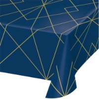 Creative Converting 343961 54 x 102 in. Navy Blue & Gold Foil Plastic Tablecloth, Case of 6 - 1