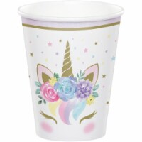 Creative Converting 343968 9 oz Unicorn Baby Shower Paper Cup, 8 Count - Case of 12