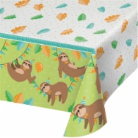 Creative Converting 344500 54 x 102 in. Sloth Party Plastic Tablecloth - Case of 6