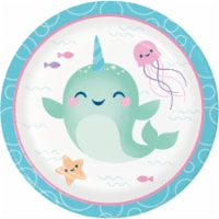 Creative Converting 345904 7 in. Narwhal Party Dessert Plates - 96 Count - 1