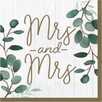 Creative Converting 346147 6.5 x 6.5 in. Eucalyptus Mrs. & Mrs. Luncheon 1 by 4 Fold 2-Ply Ti