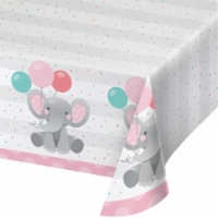 Creative Converting 346220 54 x 102 in. Enchanting Elephants Girl Paper Tablecloths - 6 Count