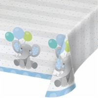 Creative Converting 346226 54 x 102 in. Enchanting Elephants Boy Paper Tablecloths - 6 Count