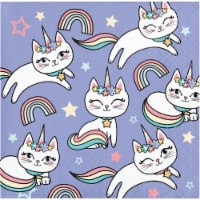 Creative Converting 346251 5 x 5 in. Sassy Caticorn Beverage 1 by 4 Fold 2-Ply Tissue Napkins
