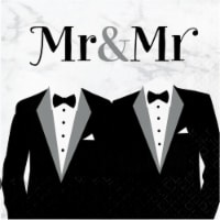 Creative Converting 346269 6.5 x 6.5 in. Mr. & Mrs. Wedding Luncheon 1 by 4 Fold 2-Ply Tissue - 1