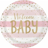 Creative Converting 346283 9 in. Foil Celebration Baby Shower Dinner Plates, Pink & Gold - 96