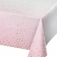 Creative Converting 346289 54 x 102 in. Celebration Paper Tablecloths, Pink & Gold - 6 Count