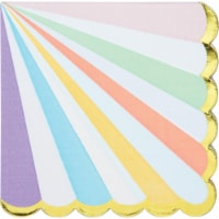 Creative Converting 346320 6.5 x 6.5 in. Foil Pastel Celebrations Scalloped Luncheon 3-Ply Fa - 1