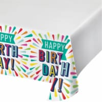 Creative Converting 346328 54 x 102 in. Birthday Burst Paper Tablecloths - 6 Count