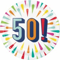 Creative Converting 346334 7 in. Birthday Burst 50 Dessert Plates - 96 Count