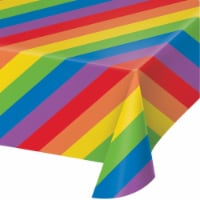 Creative Converting 346633 10 x 4 x 0.5 in. Creative Converting Rainbow Stripes Plastic Table