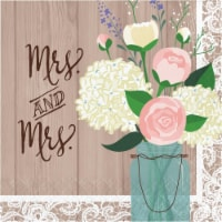 Creative Converting 346658 6.5 x 6.5 in. Rustic Wedding Mrs. & Mrs. Luncheon 1 by 4 Fold 2-Pl - 1