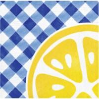 Creative Converting Gingham Lemonade Beverage Napkins 16 Pack