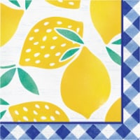 Creative Converting Gingham Lemonade Lunch Napkins 16 Pack