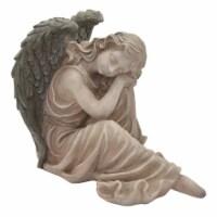 Plutus Brands Garden Sitting Angel Decor in Gray Resin - 1