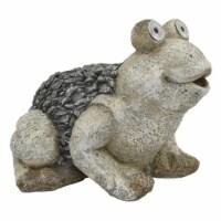 Plutus Brands Garden Solar Frog in Gray Resin - 1