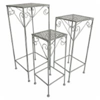Plutus Brands Metal Plant Stand Square in Gray Metal Set of 3
