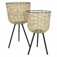 Plutus Brands Metal Plant Stand in White Metal Set of 2