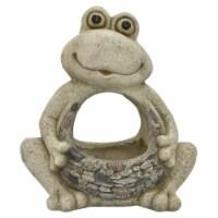 Plutus Brands Frog Garden Decoration in White Resin - 1