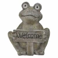 Plutus Brands Garden Solar Frog Statue in Gray Resin - 1