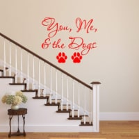 VWAQ You Me and The Dogs Wall Decal - Pet Quotes Wall Decor Puppy Vinyl Sticker Lettering - 1