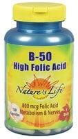 Nature's Life B-50 High Folic Acid Complex Capsules 50 mg