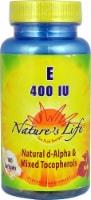 Nature's Life  Vitamin E Natural d-Alpha & Mixed Tocopherols 100 Softgels 400 IU - 100 ct