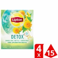 Lipton Detox Dandelion Nettle Grapefruit Green Tea Bags 15 Count