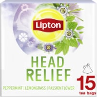 Lipton Head Relief Peppermint Lemongrass Passion Flower Caffeine Free Herbal Tea Bags 15 Count