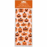 Holiday Home Pumpkin Treat Bags & Ties - 20 bags