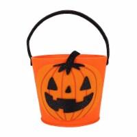 Holiday Home Felt Pumpkin Treat Bucket - Orange/Black - 1 ct